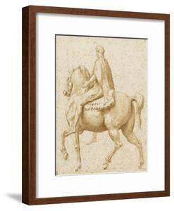 Statue équestre de Marc Aurèle, vue de profil, et légèrement par l'arrière by Nicolas Poussin