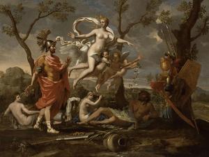 Vénus montrant ses armes à Enée by Nicolas Poussin