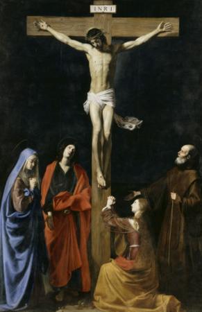 Le Christ en croix, la Vierge, la Madeleine, saint Jean et saint Vincent de Paul by Nicolas Tournier