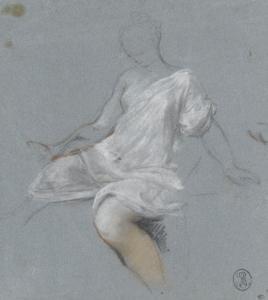 Femme assise, en chemise, tournée vers la gauche by Nicolas Vleughels