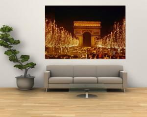 A Night View of the Arc De Triomphe and the Champs Elysees Lit up for Christmas by Nicole Duplaix