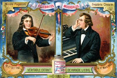 Nicolo Paganini and Frederic Chopin, C1900--Giclee Print