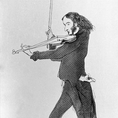 Nicolo Paganini Playing Violin--Photographic Print