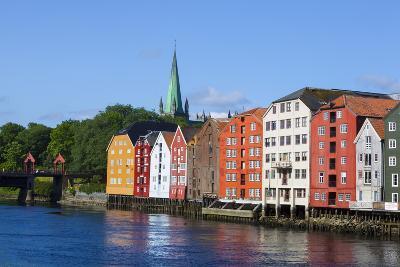 Nidaros Cathedral, Old Fishing Warehouses and Gamle Bybro, Trondheim-Doug Pearson-Photographic Print