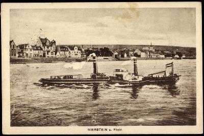 Nierstein Am Rhein, Blick Auf Den Ort Mit Dampfer--Giclee Print