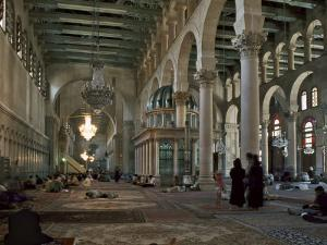 Interior of Omayad Mosque in the Old City, Damascus, Syria, Middle East by Nigel Blythe