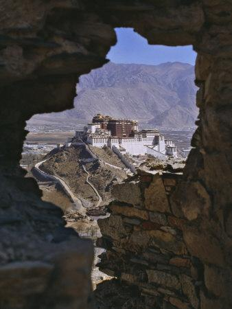 Potala Palace, Seen Through Ruined Fort Window, Lhasa, Tibet