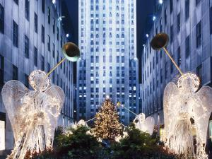 Angels at the Rockerfeller Centre, Decorated for Christmas, New York City, USA by Nigel Francis