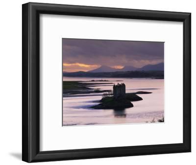 Castle Stalker on Loch Linnhe, Silhouetted at Dusk, Argyll, Scotland, United Kingdom, Europe