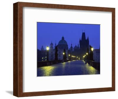 Charles Bridge at Night and City Skyline with Spires, Prague, Czech Republic