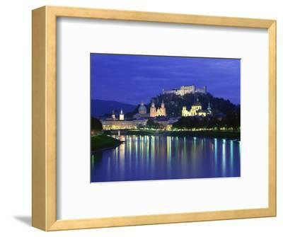 City and Castle at Night from the River, Salzburg, Austria, Europe