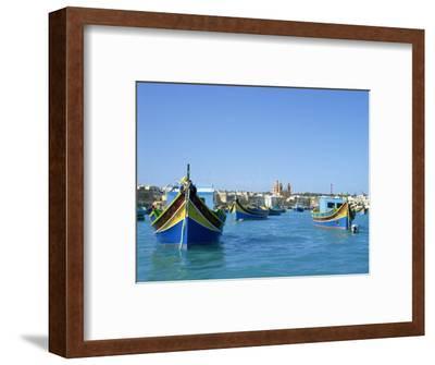 Painted Boats in the Harbour at Marsaxlokk, Malta, Mediterranean, Europe