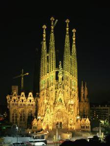 Sagrada Familia, the Gaudi Cathedral, Illuminated at Night in Barcelona, Cataluna, Spain by Nigel Francis