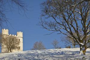 A Snowy Winter View of a Victorian 'Folly' Castle, Haldon Belvedere by Nigel Hicks