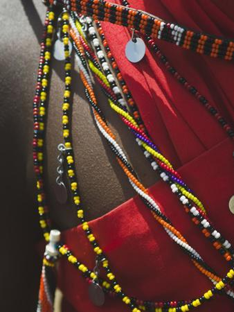 Close Up Detail of a Maasai Tribesman's Beaded Jewelry