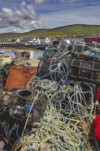 Crab pots piled up on the wharf at Portmagee, Skelligs Ring, Ring of Kerry, County Kerry, Munster,  by Nigel Hicks