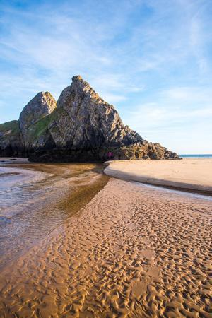 Autumn Sunlight at Three Cliffs Bay, Gower, South Wales, UK