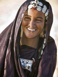 A Tuareg Woman with Attractive Silver Jewellery at Her Desert Home, North of Timbuktu, Mali by Nigel Pavitt
