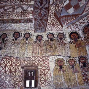 Fine Murals Decorate Interior of Rock-Hewn Church, Yohannes Maequddi, Gheralta Mountains, Ethiopia by Nigel Pavitt