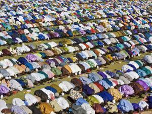 Gathering of Muslim Men Pray to Allah, End of Muslim Holy Month of Ramadan, Mali by Nigel Pavitt