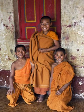Group of Happy Young Novice Monks at Monastery in Ban-Lo, a Shan Village Outside Kengtung, Myanmar by Nigel Pavitt