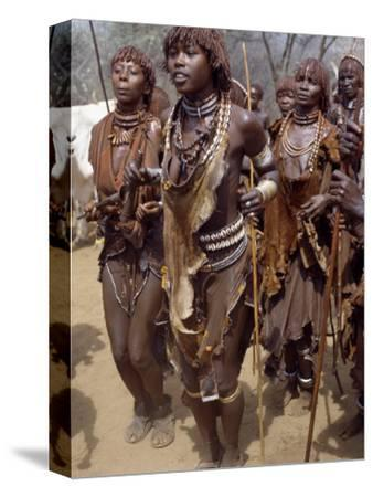 Hamar Women Dance, Sing and Blow Tin Trumpets in 'Jumping of Bull' Ceremony, Omo Delta, Ethiopia