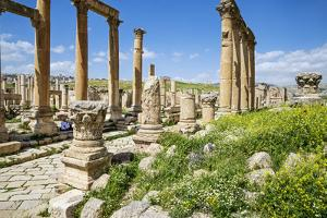 Jordan, Jerash. a Section of the Cardo of the Ancient Roman City of Jerash. by Nigel Pavitt