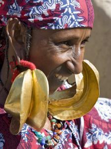 Mopti, A Fulani Woman Wearing Large 14-Carat Gold Earrings, Mali by Nigel Pavitt