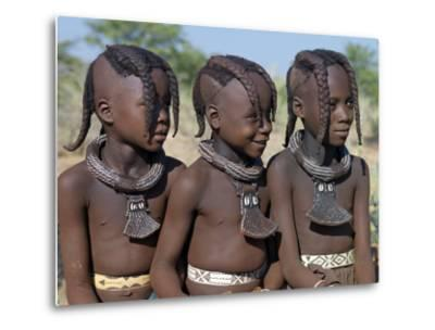 Three Young Girls, their Bodies Lightly Smeared with Red Ochre Mixture, Namibia