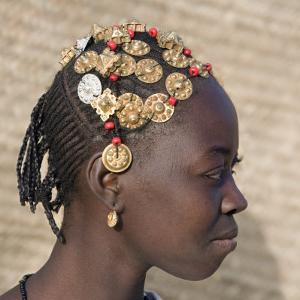 Timbuktu, A Songhay Girl with an Elaborately Decorated Hairstyle in Timbuktu, Mali by Nigel Pavitt