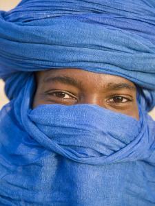 Timbuktu, the Eyes of a Tuareg Man in His Blue Turban at Timbuktu, Mali by Nigel Pavitt