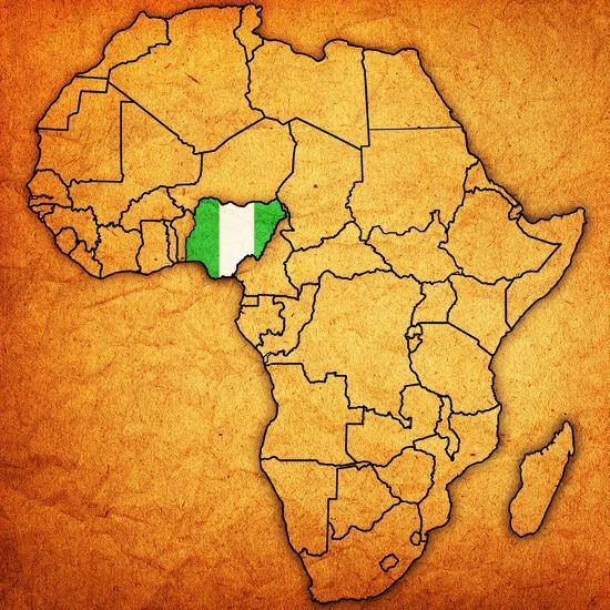 Nigeria on Actual Map of Africa Art Print by michal812 | Art.com
