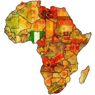 Nigeria on Actual Map of Africa-michal812-Art Print