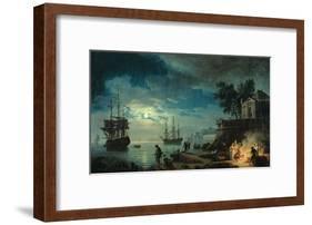 Night: a Port in the Moonlight, 1748-Claude Joseph Vernet-Framed Giclee Print