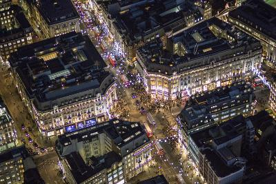 Night Aerial View of Oxford Circus, London, England-Jon Arnold-Photographic Print