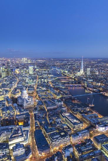 Night Aerial View of St. Paul'S, the Shard, River Thames and City of London, London, England-Jon Arnold-Photographic Print