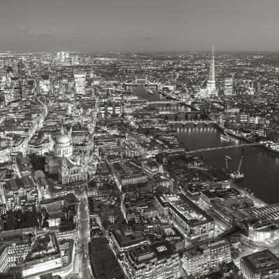 Night Aerial View of the Shard and City of London, London, England-Jon Arnold-Photographic Print