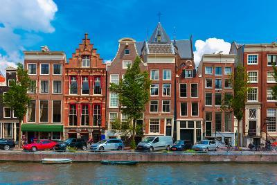 Night Amsterdam Canal with Dutch Houses-kavalenkava volha-Photographic Print