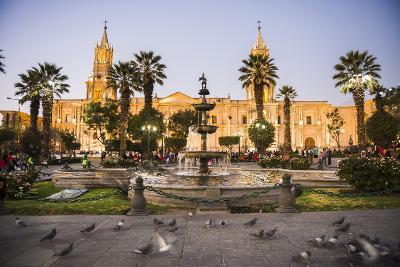 Night at Basilica Cathedral of Arequipa (Basilica Catedral), Plaza De Armas, Arequipa, Peru-Matthew Williams-Ellis-Photographic Print