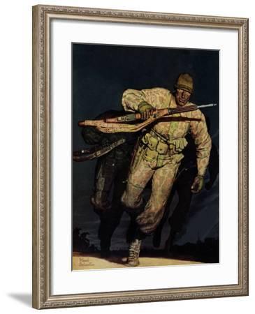 """Night Attack,"" February 20, 1943-Mead Schaeffer-Framed Giclee Print"