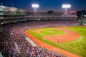 Night baseball game at historic Fenway Park, Boston Red Sox, Boston, Ma., USA, May 20, 2010, Red...