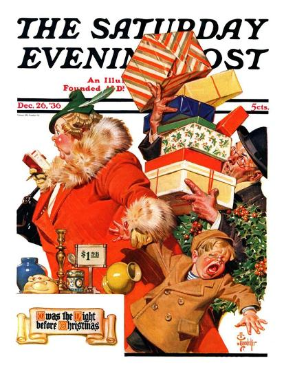 """'Night before Christmas',"" Saturday Evening Post Cover, December 26, 1936-Joseph Christian Leyendecker-Giclee Print"