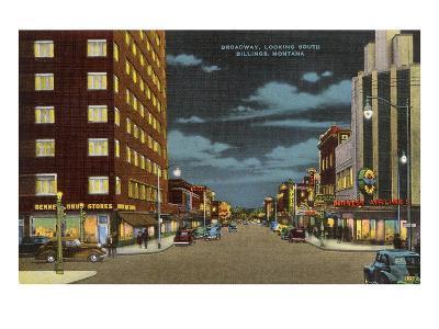 Night, Broadway, Billings, Montana--Art Print