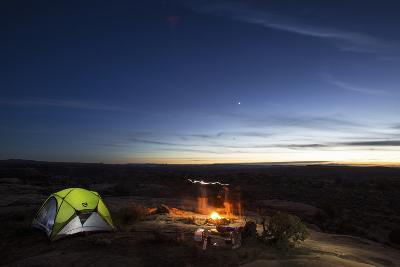 Night Camping Scene with Lit Up Tent and Campfire. Moab, Utah-Matt Jones-Photographic Print