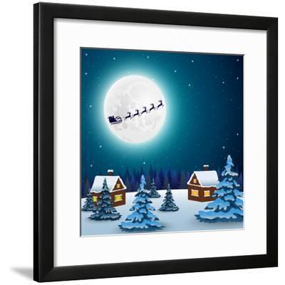 Night Christmas Forest Landscape. Santa Claus Flies Reindeer In-Paola Crash-Framed Premium Giclee Print