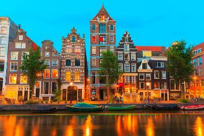 Night City View of Amsterdam Canal Herengracht-kavalenkava volha-Photographic Print