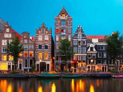 Night City View of Amsterdam Canal with Dutch Houses-kavalenkava volha-Photographic Print