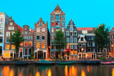 Night City View of Amsterdam Canals and Typical Houses, Holland, Netherlands.-kavalenkava volha-Photographic Print