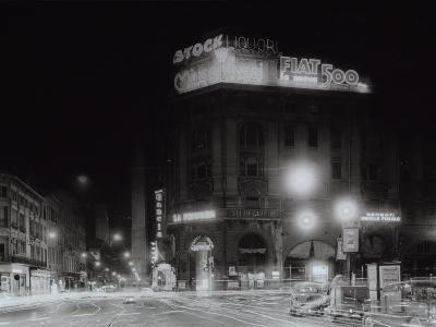 Night City View with Neon Signs of the New Fiat 500 Located on the Roof of a Building-A^ Villani-Photographic Print
