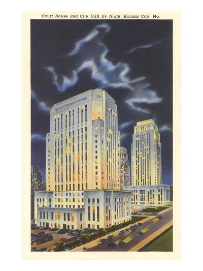 Night, Courthouse and City Hall, Kansas City, Missouri--Art Print